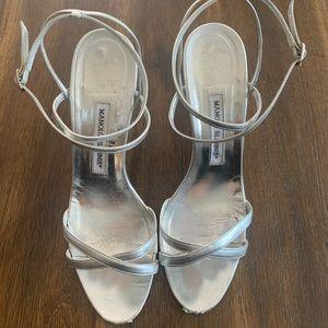 Manolo Blahnik Bayan Silver Strappy Sandal